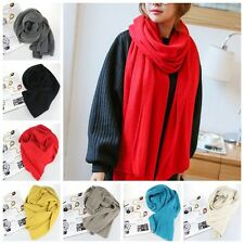 Unisex Winter Warm Soft Knitted Woolen Scarf Colorful Wool Long Scarf Wrap Shawl
