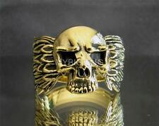 BRONZE BIKER RING SKULL WITH WINGS ANTIQUED ANY SIZE