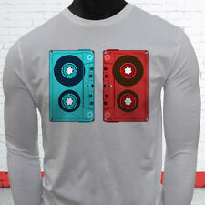 3D CASSETTE TAPE RETRO HIP HOP MIX TAPE RAP 90S Mens White Long Sleeve T-Shirt