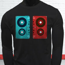 3D CASSETTE TAPE RETRO HIP HOP MIX TAPE RAP 90S Mens Black Long Sleeve T-Shirt