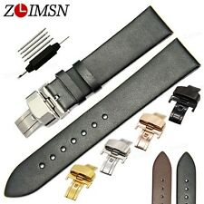 Black Brown Men Genuine Leather Watch Band Strap Butterfly Buckle 18mm 20mm 22mm