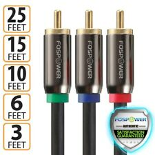 FosPower 3FT 6FT 10FT 15FT 25FT Dual Layer 3RCA Component RGB Video Cable Cord
