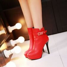 Sexy Womens Faux Leather Platform Pointy Toe Stiletto High Heel Boots Shoes SS42
