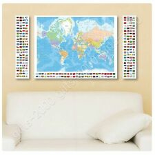 Synthetic CANVAS +GIFT Political Modern World Map Flags World Map 3 Panels