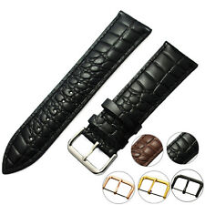 ZLIMSN Black Brown Genuine Leather Watch Strap Pin Buckle Wristband Band Belt