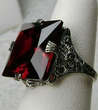 12ct Square *Red Garnet* Sterling Silver Victorian Filigree Ring Size Any/MTO