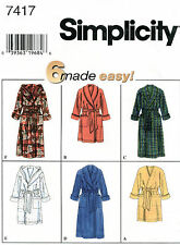 Simplicity 7417 Unisex Mens Misses Teens Robe Sewing Pattern ~ Size XS S M