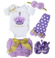 Baby Personalized Name Cupcake Bodysuit Lavender Lace Bloomers Outfit