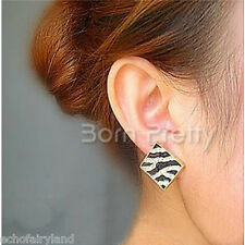 1Pair Fashion Zebra-stripe Earrings Rhinestone Square Pattern Ear Studs