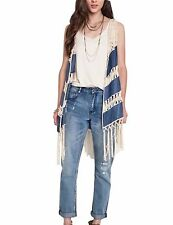 Women's Bohemian Frayed Crochet Lace Fringe Denim Cardigan Vest
