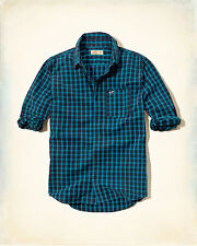 NWT Hollister - Abercrombie&Fitch Plaid Poplin Shirt S M L Blue Check 100%Cotton