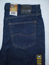 Lee Regular Fit At Waist Straight Leg Men Rinse Blue Denim Jeans Size 36, 40 New