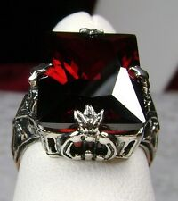 10ct *Red Garnet* Sterling Silver Deco 1930's Leaf Filigree Ring {Made To Order}