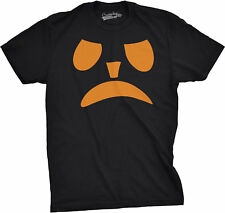 Mens Frowning Pumpkin Face Funny Fall Halloween Spooky T shirt (Black)