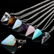 Quartz Crystal Gem Natural Stone Chakra Reiki Healing Pendant Necklace Bead Gift