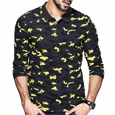 Mens Polo Shirt  Long Sleeve Slim Lapel Camouflage Printing T-Shirt M L XL 2XL