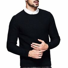 Mens Fashion Pullover Round Collar Solid Casual Sweater Cotton Black M L XL XXL