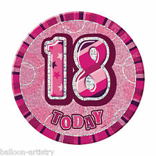 "6"" PINK GLITZ Giant 18th Today Birthday Party Badge"
