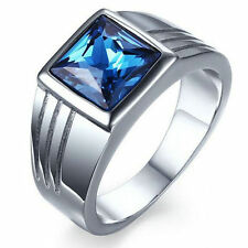 5 Size Mens Blue Sapphire Stainless Steel Fashion Wedding Ring Gift CHI