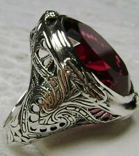 16ct *Red Ruby* Sterling Silver Victorian Design Filigree Ring (MTO) Size Any