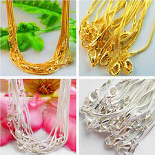 Wholesale 5/10Pcs Silver/Gold Plated 1mm Snake Chain Lobster Clasp Necklace 43cm