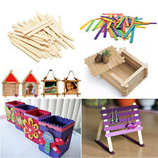 50~100x Wooden Lollipop Popsicle Sticks Party Kids Crafts Ice Lolly Cake DIY