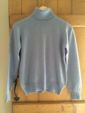 Marks And Spencer 100% Cashmere Jumper Polo Roll Neck Size 14 Blue Autograph