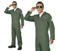 Aviator Costume Mens Pilot Fancy Dress Outfit Military Sizes M-XL
