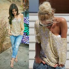 Women Summer Short sleeve Casual Fashion Sexy Sequins Tops Off Shoulder Blouse