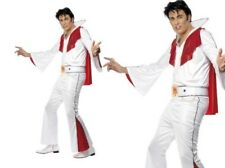 Adults Official Elvis Lives Costume Mens White Licensed Fancy Dress Outfit