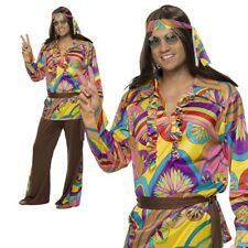 Psychedelic Hippie Man Costume Mens 1960s 60s Fancy Dress Outfit M-XL