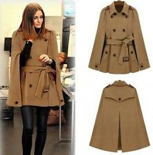 Ladies Cape Batwing Wool Poncho Belted Jacket Girls Winter Warm Cloak Coat Size