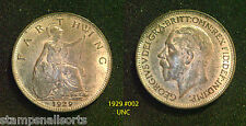 King George V Farthing 1929 High Grade VF - UNC. Choose your coin