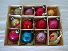 12 VINTAGE GLASS CHRISTMAS TREE BAUBLES DECORATIONS