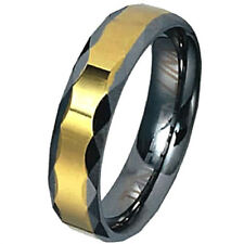 TUNGSTEN CARBIDE Ring with Golden Band & Faceted Grooves, sizes 8, 9, 10, 11, 12