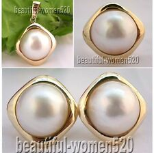 X0130 HUGE Genuine 20mm white Mabe Pearl silver rhombus Ring Earring pendant