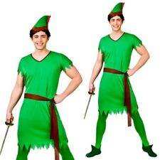 Adults Robin Hood Costume Storybook Lost Boy Green Elf Mens Fancy Dress Outfit