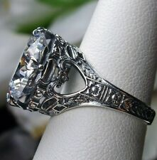 6ct White Gem Solid Sterling Silver Leaf Victorian Filigree Ring (MTO) Size Any