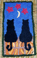 MOON STRUCK CATS Primitive Rug Hooking KIT WITH #8 CUT WOOL STRIPS