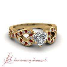 3/4 Ct Yellow Gold Heart Shaped Diamond And Ruby Engagement Ring GIA Certified