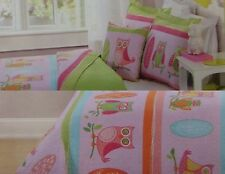 NEW KIDS EXPRESSIONS OWLS NATURE TWIN FULL REVERSIBLE QUILT SHAM DECO PILLOW SET