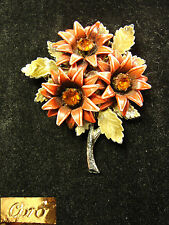 Vintage Signed Coro Enamel & Rhinestone Flower Pin Brooch Red / Orange