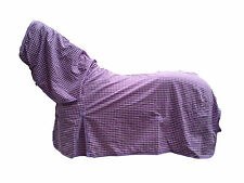 AXIOM POLYCOTTON LAVENDER & WHITE CHECK RIPSTOP UNLINED HORSE COMBO RUG 6'0