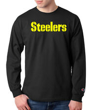 Pittsburgh Steelers Script Logo Champion LONG SLEEVE T-Shirt Tagless Tee Black