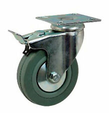 INSTITUTIONAL SWIVEL CASTOR 40-100kg GREY RUBBER TOP PLATE OR BOLT HOLE FIXING