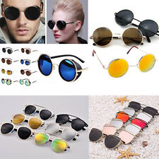Unisex Classic designer Fashion Retro Aviator Women Mirrored Lenses Sunglasses