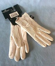 MOUNTAIN HORSE WHITE CROCHET & LEATHER ADULT RIDING GLOVES - ALL SIZES NEW + TAG