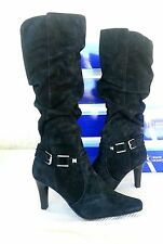 White Mountain 8 M NEW Cheeky Black Suede Heels Slouch Knee-High Boots Shoes