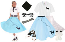 Hip Hop 50s Shop Womens 8 pc Light Blue Poodle Skirt Halloween Dance Costume Set