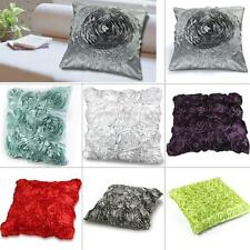 Satin Rose Flower Floral Square Throw Pillow Cushion Pillowcase Case Cover New